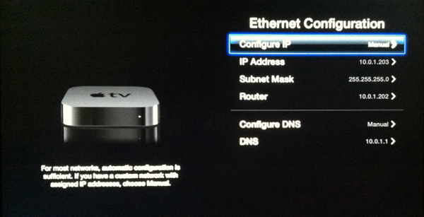 Apple TV Network Config